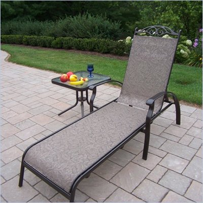Oakland Living Cascade Sling 2pc Chaise Lounge Set in Coffee Finish
