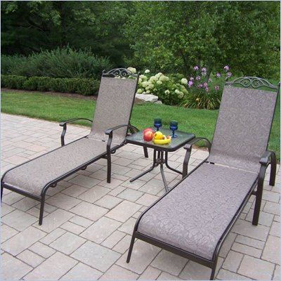 Oakland Living Cascade Sling 3pc Chaise Lounge Set in Coffee Finish