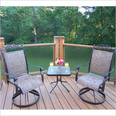 Oakland Living Cascade 3pc Swivel Chat Set in Coffee Finish