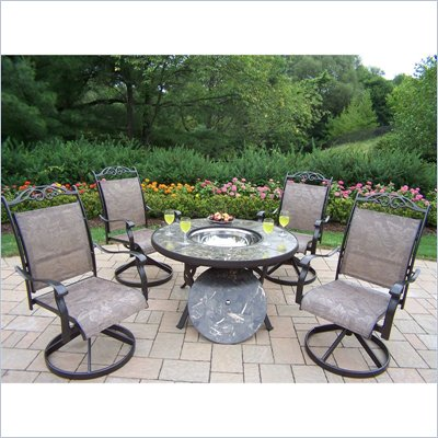Oakland Living Stone Art 44 Inch Deep Seating 5pc Chat Set with Swivel Chairs and Ice Bucket