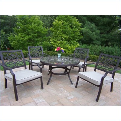 Oakland Living Stone Art 44 Inch Deep Seating 5pc Chat Set with Cushions