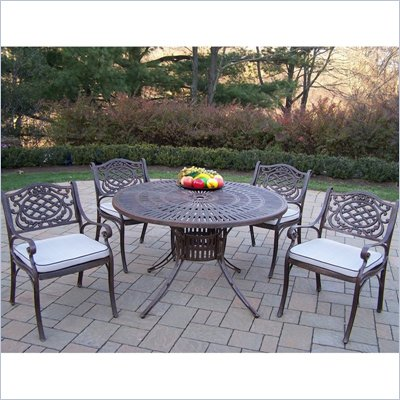 Oakland Living Sunray 48 Inch Mississippi 5pc Dining Set with Cushions