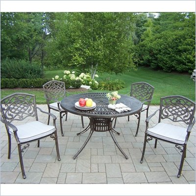 Sunray 48 Inch Mississippi 5pc Dining Set with Cushions