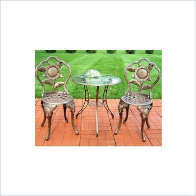 Oakland Living Sunflower Antique Bronze 3-Piece Bistro Set