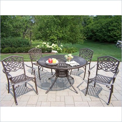 Oakland Living Sunray 48 Inch Mississippi 5 Piece Dining Set