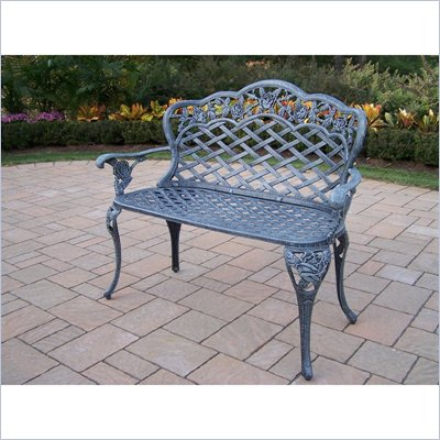 Oakland Living Tea Rose Cast Aluminum Love Seat Bench in Verdi Grey