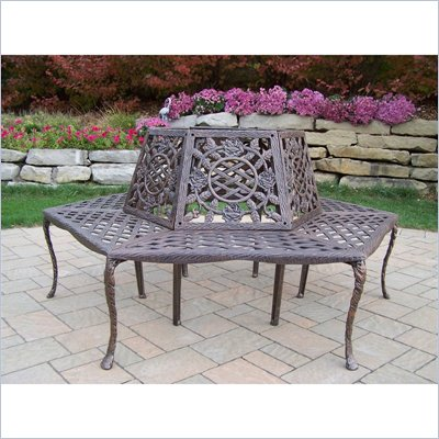 Oakland Living Tea Rose Tree Bench in Antique Bronze Finish