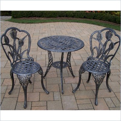 Oakland Living Tulip 3pc Bistro Set in Antique Pewter Finish