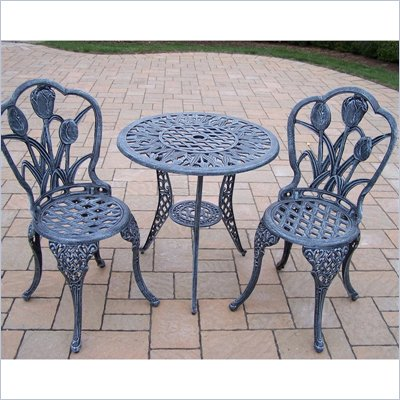 Oakland Living Tulip 3pc Bistro Set in Verdi Grey Finish
