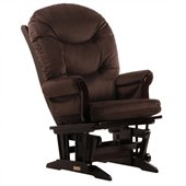 Dutailier Sleigh Glider in Espresso and Chocolate Fabric