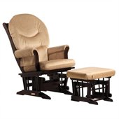Dutailier Sleigh Glider and Ottoman Set in Espresso and Light Brown