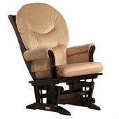 Dutailier Sleigh Glider in Espresso and Light Brown Fabric