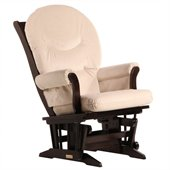 Dutailier Sleigh Glider in Espresso and Light Beige Fabric