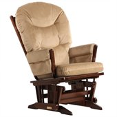 Dutailier 2 Post Glider in Coffee and Light Brown Fabric