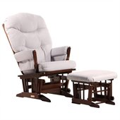 Dutailier 2 Post Glider and Ottoman Set in Coffee and Light Grey