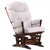 Dutailier 2 Post Glider in Coffee and Light Grey Fabric