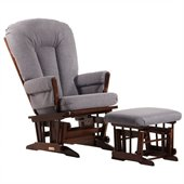 Dutailier 2 Post Glider and Ottoman Set in Coffee and Dark Grey Fabric