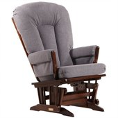 Dutailier 2 Post Glider in Coffee and Dark Grey Fabric