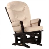 Dutailier Modern Glider in Espresso and Light Beige Fabric