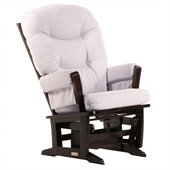 Dutailier Modern Glider in Espresso and Light Grey Fabric