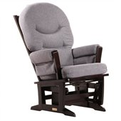 Dutailier Modern Glider in Espresso and Dark Grey Fabric