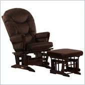 Dutailier 2 Post Glider and Ottoman Set in Coffee and Chocolate