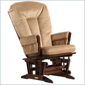 Dutailier 2 Post Glider-Multiposition in Coffee and Light Brown Fabric