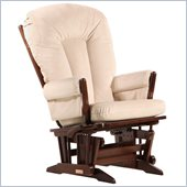 Dutailier 2 Post Glider-Multiposition in Coffee and Light Beige Fabric