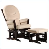 Dutailier Modern Glider and Ottoman Set in Espresso and Light Beige