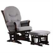 Dutailier Sleigh Glider and Ottoman Set in Espresso and Dark Grey