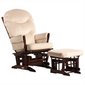 Dutailier 2 Post Glider and Ottoman Set in Coffee and Light Beige