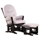 Dutailier Modern Glider and Ottoman Set in Espresso and Light Grey