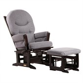 Dutailier Modern Glider and Ottoman Set in Espresso and Dark Grey