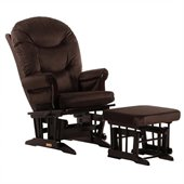 Dutailier Sleigh Glider and Ottoman Set in Espresso and Chocolate