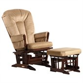 Dutailier 2 Post Glider and Ottoman Set in Coffee and Light Brown