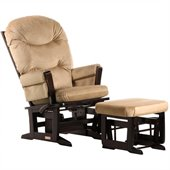 Dutailier Modern Glider and Ottoman Set in Espresso and Light Brown