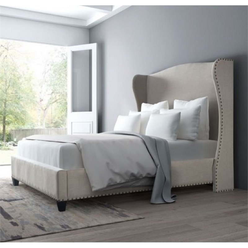 ZUO Enlightenment Upholstered King Bed in Beige