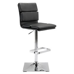 ZUO Use Faux Leather Adjustable Bar Stool in Black