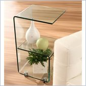 Zuo Trek Glass Side Table with Casters in Clear