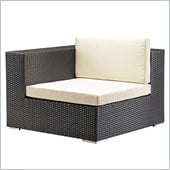 Zuo Cartagena Outdoor Corner Chair in Espresso/Beige