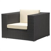 Zuo Cartagena Outdoor Arm Chair in Espresso/Beige