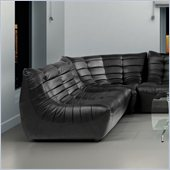 ZUO Carnival Modern Leatherette Love Seat in Black