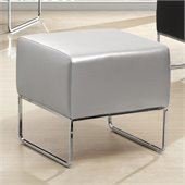 Zuo Plush Ottoman in Silver