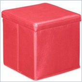 Zuo Skammel Leatherette Storage Ottoman in Red