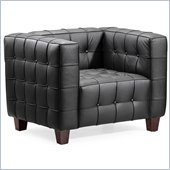 ZUO Button Modern Italian Leather Arm Chair in Black