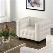 ZUO Button Modern Italian Leather Arm Chair in White
