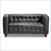 ZUO Button Modern Italian Leather Love Seat in Black