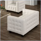 ZUO Button Modern Italian Leather Love Seat in White