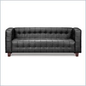 ZUO Button Modern Italian Leather Sofa in Black