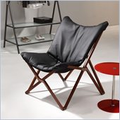 ZUO Draper Modern Leatherette Lounge Chair in Black